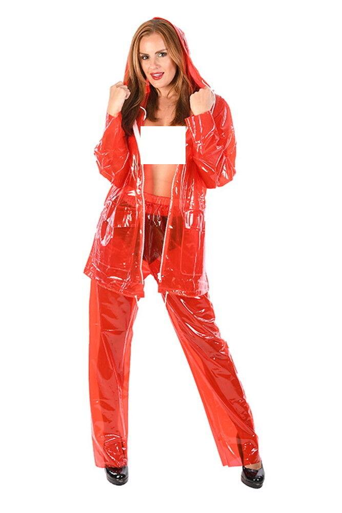 2-teiliges PVC Regenoutfit rot  glasklar transparent