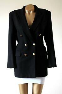 M-amp-S-Blazer-Jacket-UK-16-Navy-Blue-Pure-Wool-Gold-Button-Double-Breasted-Tailored