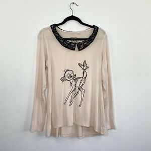 Disney-Bambi-Womens-Top-Long-Sleeve-Pink-Collared-Relaxed-Fit-Size-12