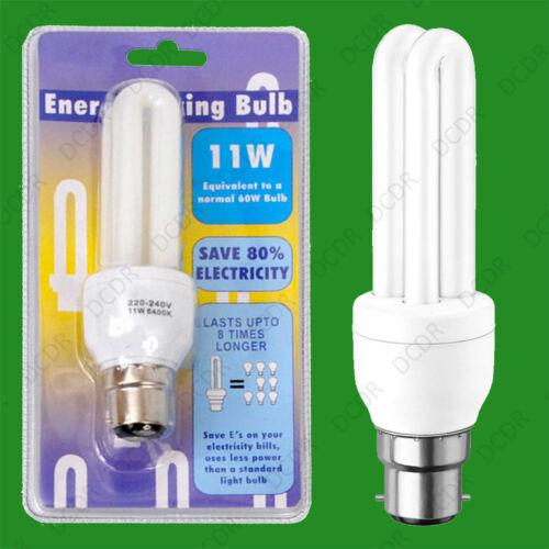 4x 11 W lumière du jour blanc 6400K basse énergie CFL Bâton Ampoule Lampes Baïonnette BC B22