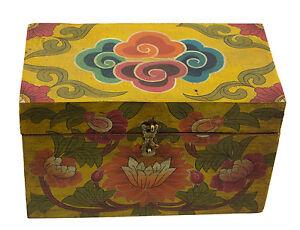Scatola Cofanetto Tibetano Fiocco Infinito E Lotus Offerta-Tibet Nepal 22cm 4609