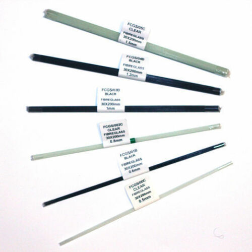 30 x 200mm clair Fibre de verre Pole Float tiges noir
