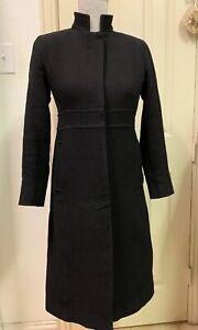 EUC-J-Crew-Womens-Petite-Pea-Coat-Jacket-Black-Wool-Blend-Size-0-0P