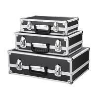 Set Of 3 Tool Box Flight Case Boxes Aluminum Toolbox Cash Safe Boxes Black B8n4 on sale