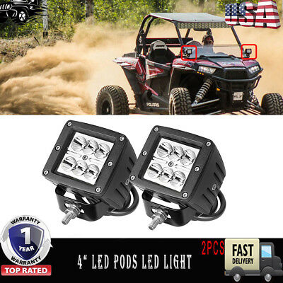 18W PODS LED WORK LIGHT OFF ROAD LAMPS 12V 24V Polaris 900 800 1000 KFX 50 90