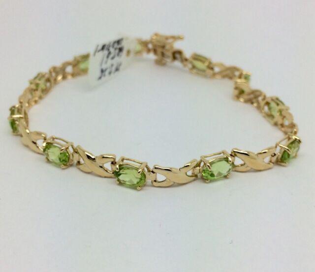 14k Yellow Gold Natural Peridot Bracelet