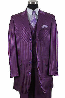 Men's 3 piece Shiny Fashion 4 Button Suit W/Vest Shadow Strips W/Pants 2915V