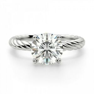 2.00 Ct Solitaire Moissanite Engagement Ring 18K Solid White Gold ring Size 6 7