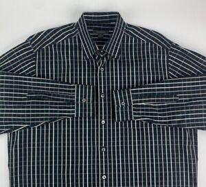 Ermenegildo-Zegna-Mens-Button-Front-Shirt-Black-Beige-Plaid-Long-Sleeve-Italy-XL