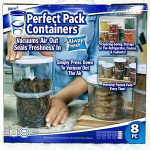Perfect Pack Containers As Seen On Tv 8 Pc Food Fresh Vacuum Seal Stackable