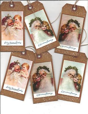 12 PRIMITIVE TAGS~Christmas Primitive~Here Comes Santa Claus!Set III