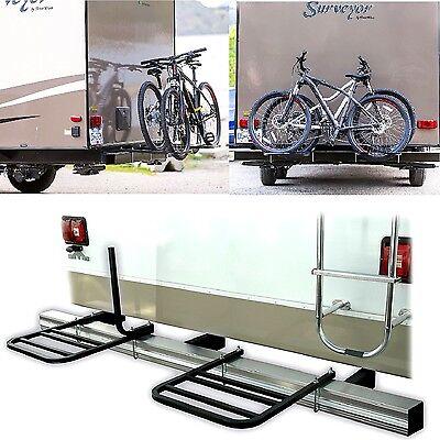 Bumper Mount Rack Two Platforms 2 Bike RV Camper Trailer Travel Part Bicycle New
