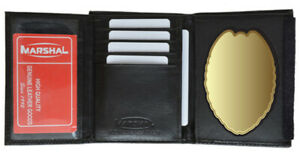 Black-Leather-Badge-Mens-Wallet-Concealed-Carry-Weapon-ID-Shield-Holder