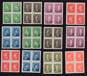 Canada #284 - 293, 305-306 George VI Issues Blocks of Four MNH