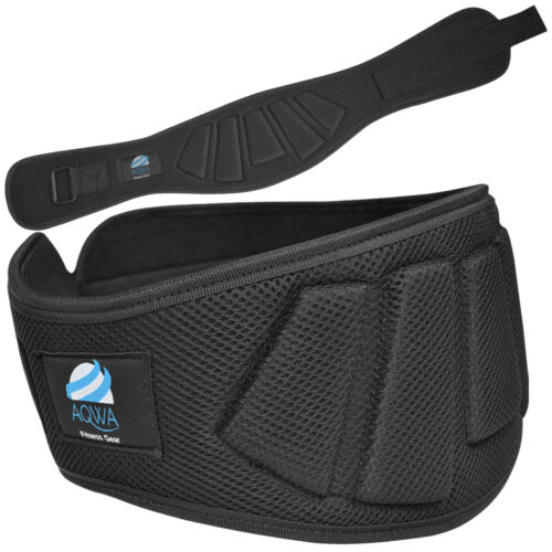 """XL AQWA Weight Lifting Belt Gym Training Back Support Fitness 6/"""" Wide Black"""