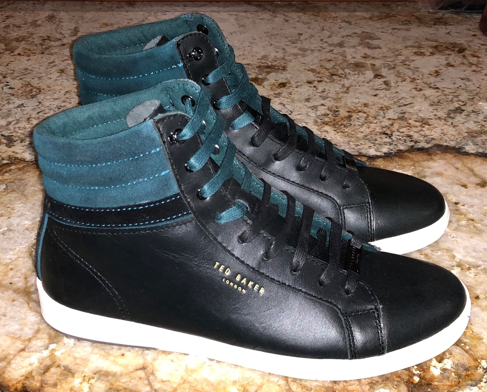 TED BAKER Kilma Leather Leather Leather Suede High Top nero Teal scarpe da ginnastica scarpe Uomo 10 9.5 2272bb
