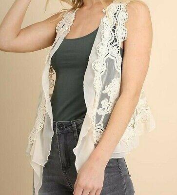 Umgee Boho Crochet Sheer Lace Ruffled Layering Vest Mocha Brown Sleeveless M L