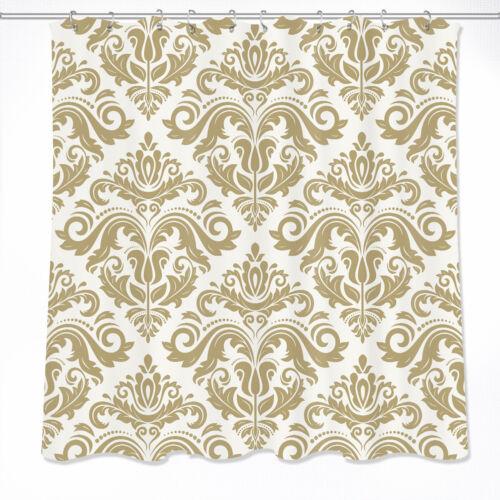 """Europe Damascus Flower Bath Waterproof Fabric Shower Curtain 72//79/""""/& Mat /&12Hook"""