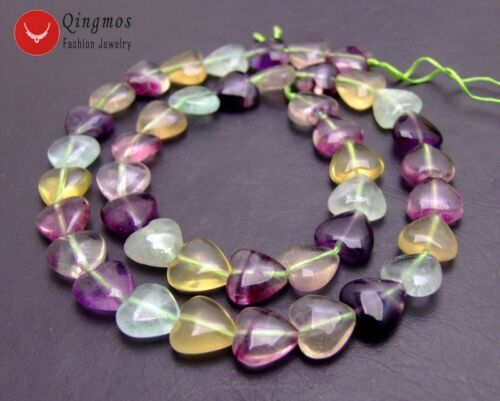"""Heart 12mm Purple Natural Fluorite Loose Beads for Jewelry Making DIY Strand 15/"""""""