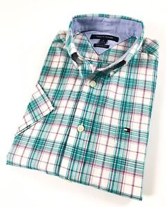 Tommy-Hilfiger-Chemise-Homme-a-Manches-Courtes-Popeline-Vert-carreaux-roses-classic-fit