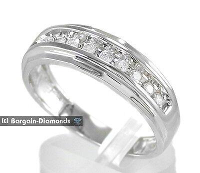 mens diamond .25 carat wedding 10K gold ring band mans love promise white