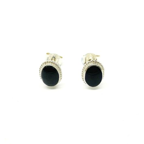 Genuine 925 Sterling Silver Real Onyx Oval Earring With Rope Detail