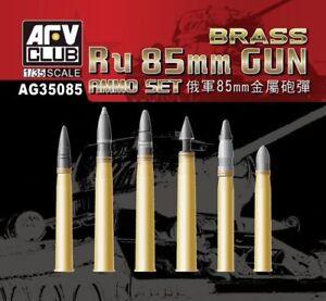 AFV-Club-1-35-ru-85mm-Waffe-Munition-Set-Messing-Schalen-ag35085