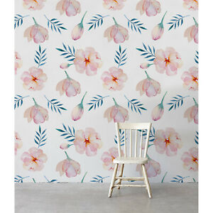 Pink-Spring-Floral-Non-Woven-wallpaper-watercolor-flowers-wall-mural-Petals