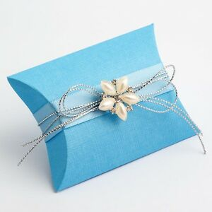 Image Is Loading Blue Textured Pillow Pouch Wedding Diy Favour Bo
