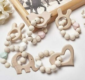 Baby-Teething-Bracelets-Wooden-Teether-Silicone-Beads-Rattles-Toys-Shower-Gifts