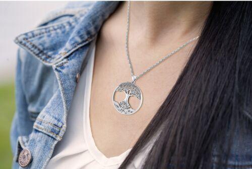 Nuevo Para mujeres 1 3//8 en plata esterlina 0.925 Colgante Moderno Árbol De La Vida