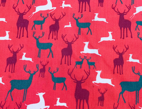 Christmas Fabric Reindeers on Red Polycotton Xmas Craft Fabric Material