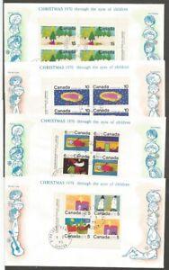 CANADA FDCS 1970 CHRISTMAS STAMPS CANADA SCOTT #520,521,523,524,526,527,529,530
