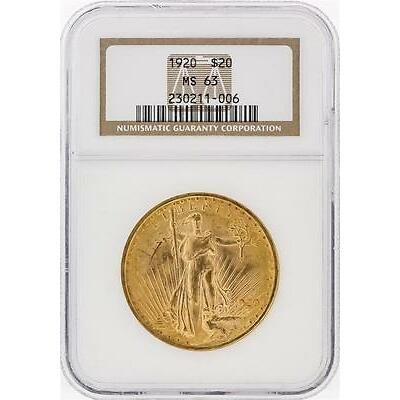 1920 NGC MS63 $20 St. Gaudens Double Eagle Gold Coin Lot 604