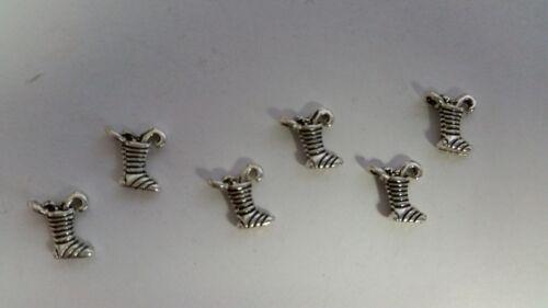10 pieces 5x8mm Tibetan Silver Christmas Sock Alloy Charm Pendants A2341 k2-ac
