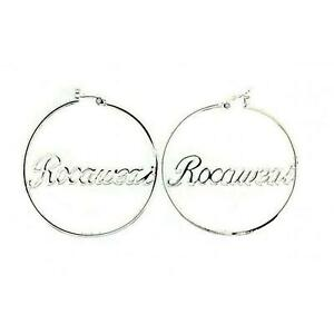 Rocawear-Plaque-Argent-Grand-Rond-Boucles-D-039-Oreilles-Creoles