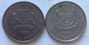 Singapore 2 pcs (1986 & 2009) 2nd Series 20 cents coin