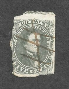 Confederate States, CSA 1-AB, Stone 1, (Scott #1 c) used, pen cancel, Olive, NG