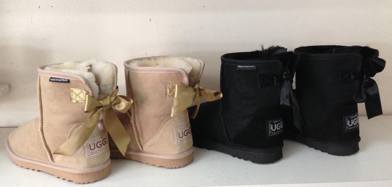 Bailey Bow Mini Ugg Boots Tamaños de piel de oveja australiana de primera calidad 3-13
