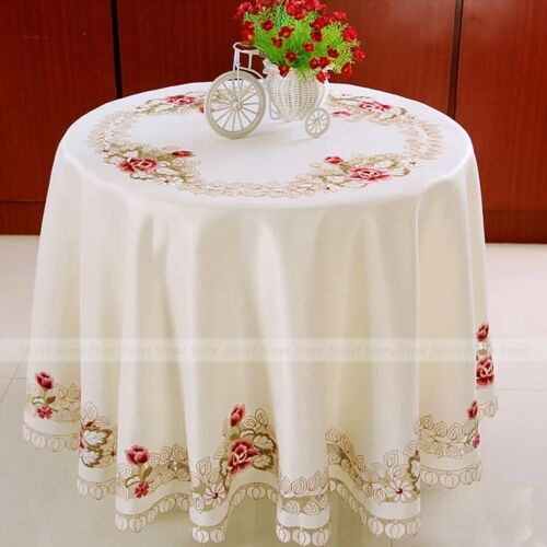 Embroidery Rose Tablecloth Wedding Party Table Cloth Cover Placemat Home Decor 220cm Round