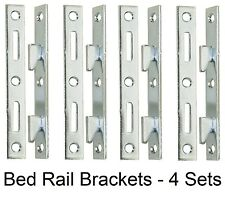 "5"" Wood Bed Rail Furniture Hook Zinc Metal Fasteners - 4 Bracket Sets"
