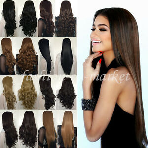 Synthetic Hair Wigs Natural 3 4 Hair Half Wig Long Straight Curly ... d16f546d9139