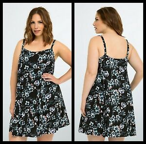 5f8c7df3384 NWT Torrid Plus Size 1 1X XL 14 16 Black Floral Trapeze Dress ...