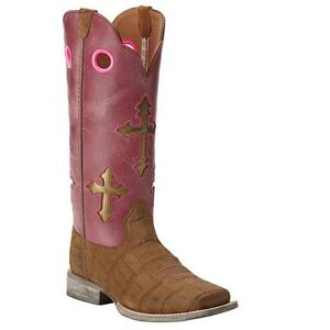 c0629f1e133 Details about Ariat Children's Pink Cross Ranchero Boot 10014121