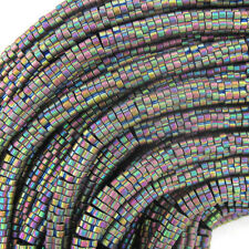 "4mm hematite daisy beads 8"" strand rainbow color"