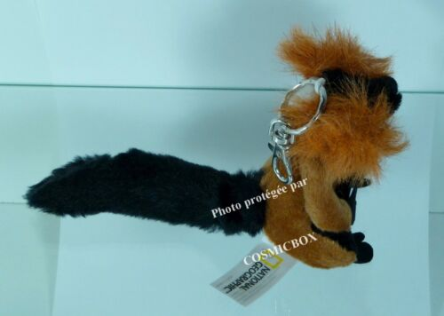Porte-clés NATIONAL GEOGRAPHIC peluche VARI ROUX lémurien animaux réalistes neuf