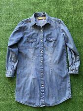 Wrangler Denim Jean Shirt Size L Long Sleeve Button Pearl Snap Flab Pockets