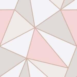 Fine Decor Apex Geometric Wallpaper Soft Pink, Rose Gold ...