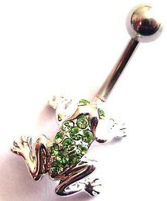 10mm Belly Bar Crystal Frog Navel