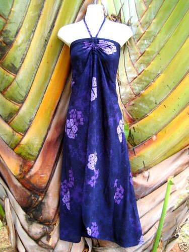 Purple Floral Tropical Hawaiian Muu Muu Butterfly Hem Cruise Sun Dress S//M